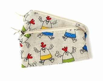 Linen With Chickens - Make Up Bag - Small Zippered Pouch - Cute Pencil Case - Crochet Bags - Makeup Organizer - Purse Organizer - Small Bag
