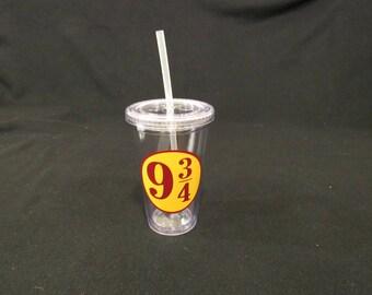 Harry Potter Tumbler Cup- 9 3/4 Harry Potter Drinkware - Hogwarts Water Bottle - Tumbler - BPA Free