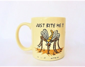 """Vintage Mosquito Themed Ceramic Cup """"Just Bite Me"""" - Bug Lover Entomology Entomologist Gift - Vibrant Cartoon Mosquito Biting Image 3.5""""Tall"""