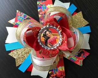Elena of Avalor hair bow- large Elena of Avalor hair bow- princess Elena hair bow-boutique Elena of Avalor hair bow- Elena of Avalor