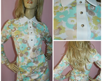 Vintage 60s FLOWER POWER Peter Pan collar Dolly MOD Scooter mini dress Tunic Top 14 M 1960s Kitsch