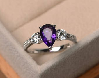 February birthstone ring, natural amethyst ring, engagement  ring, pear cut ring, purple gemstone ring, sterling silver ring