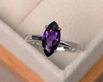 Solitaire ring, wedding ring, natural amethyst ring, marquise cut gemstone, purple gemstone, February birthstone