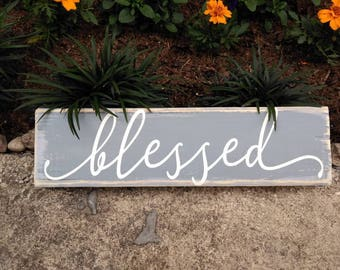 BLESSED wooden block sign