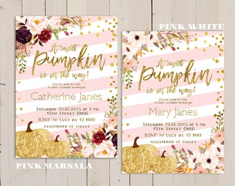 pink gold pumpkin baby shower invitation, pumpkin baby shower invitation, pink sweet pumpkin is on the way, girl gold pumpkin baby shower