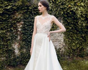 Wedding dress AURORA, unique wedding gown, champagne dress