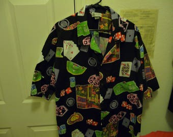 Aloha Republic Hawaiian Shirt Men's 4X Gently used Casino and cards with Black background