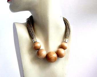 Beaded Necklace,wooden jewelry,natural jewelry,Linen necklace ,eco jewelry, natural linen,unique jewelry,gift for her, summer jewelry