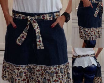 SALE Denim half apron cotton vintage print ruffle pockets cotton vintage print ties long waist ties dark blue denim apron repurposed denim