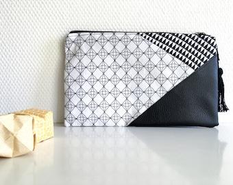 Graphic black and white multi-purpose pouch