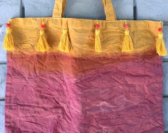 MADE TO ORDER, Hand Dyed, Reusable, Canvas Tote Bag, Grocery Bag, Book Bag