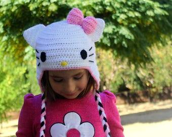 Hello Kitty hat, Girls HELLO KITTY hat, Kids Hello Kitty hat, Baby Hello Kitty hat, Select your color below