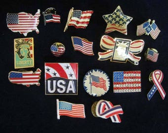 USA Patriotic Red, White and Blue, Old Glory, Flag  Lapel Pins