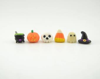 Halloween clay earrings. Pumpkin earrings. Witch hat earrings. Candy corn earrings. Skull earrings. Ghost earrings. Witch cauldron earrings