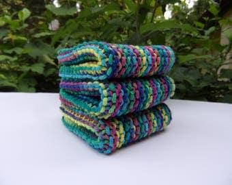 hand knitted cotton dish cloths set of 2, colorful dish cloth, durable, sugar and cream yarn, cotton wash cloths, hostess gift, housewarming