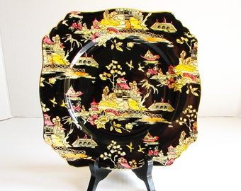 "Royal Winton Grimwades Pekin Black Chintz Square Salad Plate, 8 3/4"", Made in England, Hand Painted, Chinese Oriental Pattern, Vintage"