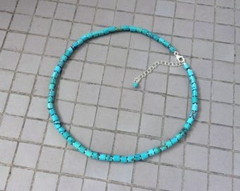 Vintage Genuine Turquoise Necklace, Sterling Silver Natural Blue Green Chinese Turquoise 4 – 5MM Heishi Tube Beaded Necklace