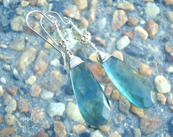 Blue Flourite, Green Amethyst and Sterling Silver Wire Wrapped Dangle Earrings
