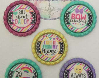 I Get It From My Mama - All About Daddy - Bow Fabulous - Finished Bottle Caps - Hand Painted Bottle Cap - Custom Color Bottle Cap