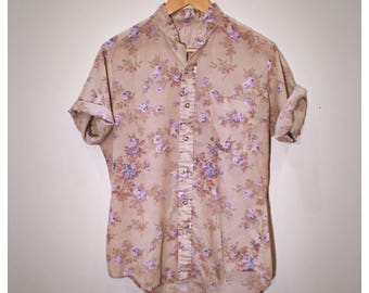 70s lightweight beige button-down blouse with pastel purple floral pattern