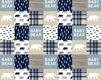 Baby bear quilt, minky quilt, woodland nursery, bear nursery, adventure, modern nursery, toddler quilt