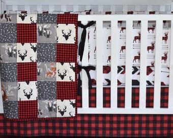 Buffalo Plaid Crib bedding, antlers, bear, woodland nursery, lumberjack nursery, modern nursery, quilt, bumpers, deer, skirt
