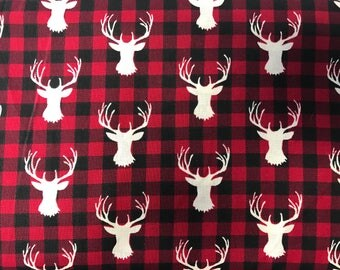 Red buffalo with stag silhouette  sheet or changing pad cover, buffalo plaid, red and black, hunting, baby boy, lumberjack, woodland nursery