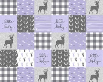 little lady deer minky blanket, lavender and grey, purple, double minky, doe, fawn, woodland