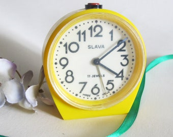 Yellow Alarm Clock Slava, Retro Alarm Table Clock, Soviet Mechanical Alarm Clock Working, Desk Clock, Farmhouse Decor