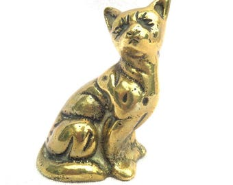 "Brass Cat Figurine, Heavy Solid Brass, Traditionally English, Eternally Durable Gift, Perfect for a Cat Lover! 3"" x 2"" x 1.5"""