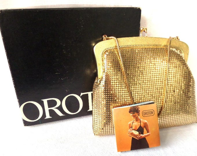 "FREE SHIPPING Gold Mesh Handbag, Made by Oroton in West Germany, Early 1970's, Original Box, Booklet, Immaculate Unused, 7"" x 6.5"" x 1.25"""