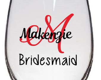 Personalized Monogram Wine Glasses Decal (Glass NOT Included)