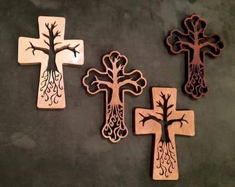 Hardwood Tree of Life Cross