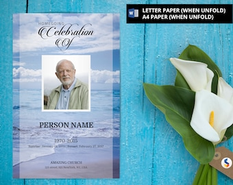 BLUE BEACH | Funeral Program Template | Printable Funeral Program Template | Obituary Program Template | Microsoft Word Template