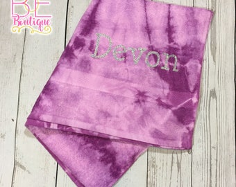 "Bling Glitter Personalized (w/ Name) Tie Dye Beach Towel 30"" x 60"""