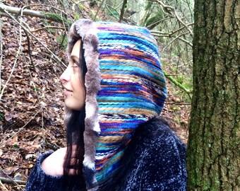 Reversible Hood/ faux fur hood/ faux wool/ rainbow hood/ hippy hood/ winter hood/ festival hood/ stripe hood/ fur hood/