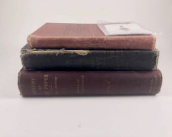 Christian Hymnals, History of Popes, 1898, 3  Vintage Hardcover Books, Holy Land Flower, Children's Hymnal, Church Service Books, 1920s