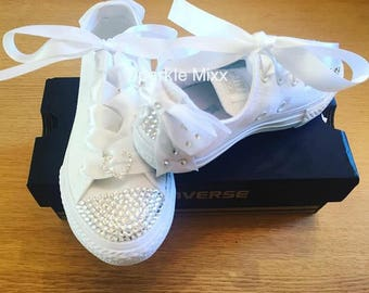 Adults All White Swarovski Converse with bow and heart detail