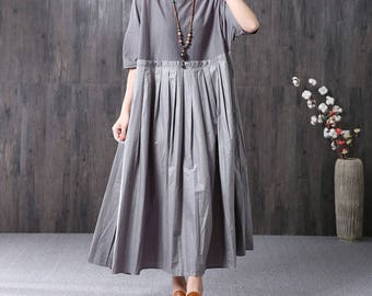 Loose summer tunic dress short sleeve long dress long pleated dress women cotton dress maxi dress party dress plus size clothing