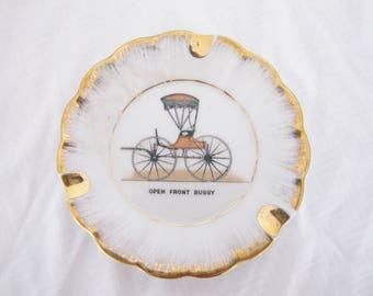 Vintage open front buggy porcelain ashtray gold edge white brown plate trinket dish ash tray