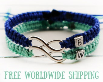 Set of Initials Bracelet, Couples bracelet, Infinity bracelet, Anniversary Bracelet, Personalized braided bracelet, His Hers bracelet