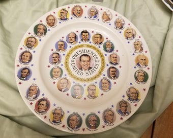 Vintage US Presidents plate Richard Nixon in center 10""