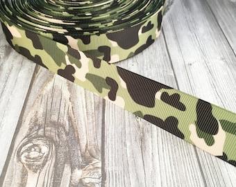 "Camo ribbon - 1"" Grosgrain ribbon - Crafting ribbon - Army ribbon - Green camo ribbon - Key fob DIY - Headband DIY - Hair bow DIY"