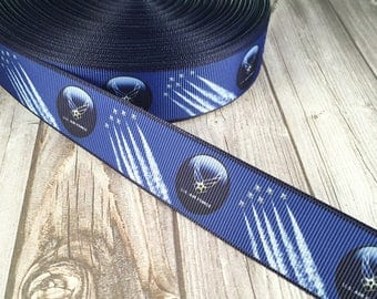 Air force ribbon - Blue air force ribbon - Military ribbon - Air force bow DIY - Do it yourself craft - Crafting supplies - Grosgrain ribbon