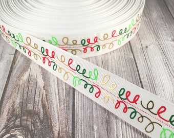 "Christmas ribbon - Foil mix ribbon - Red and green - Gold foil - 7/8"" Grosgrain ribbon - Pretty ribbon - Pretty Christmas craft - Crafting"