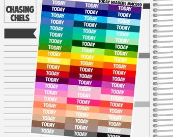 Today Headers #MCS59 Premium Matte Planner Stickers