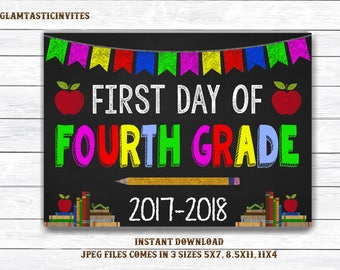 First Day of Fourth Grade Sign, Instant Download, First Day of School Chalkboard, Three Sizes, Last Day of School. Chalkboard Sign, DIY, 4th