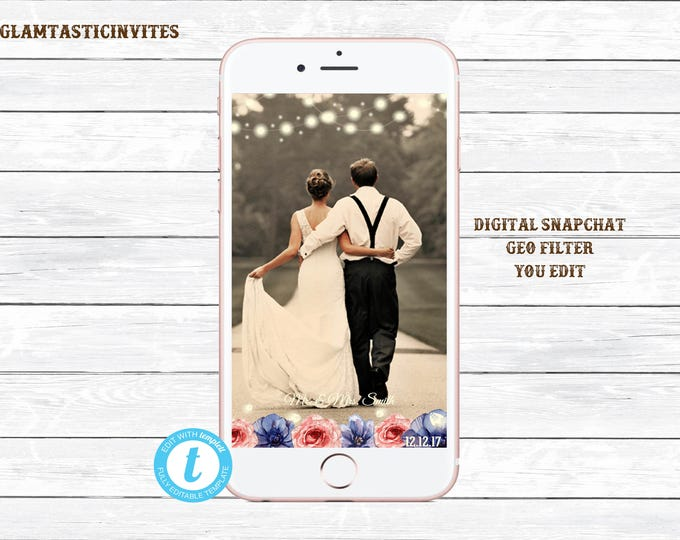 Wedding Snapchat Geofilter, Rustic Snapchat Geofilter, Wedding Filter, Custom Geofilter, Snapchat Wedding, Wedding Geofilter, You Edit, DIY