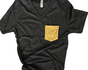 Mustard Polka Dot Tshirt, Tank Top, Gray and Yellow