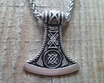 Amulet Pendant Necklace Ax Pendant Legendary Viking Runes Pendant Necklace Viking Nordic Talisman Necklace with a chain of stainless steel.